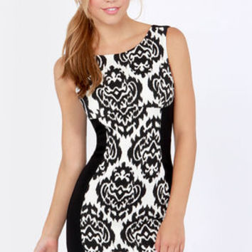 Ikat-ching Black and White Print Dress