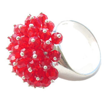 Red Crystal Silver Ring