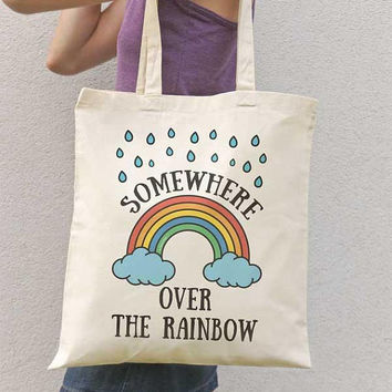 Somewhere over the rainbow tote bag-Fall tote bag-cool tote bag-back to school-tote bag-school bag-college tote bag-library tote bag-NPTB108