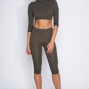 Zahra Cropped Set - Olive