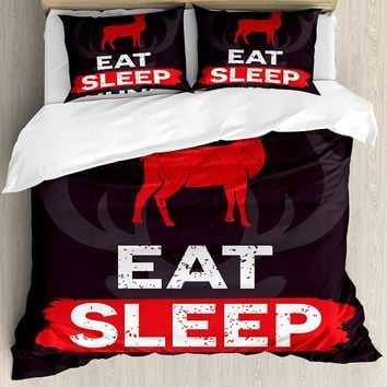 Hunting Decor Duvet Cover Set Eat Sleep Hunt Inspirational Quote Grunge Deer Silhouette Antlers Decorative 4 Piece Bedding Set