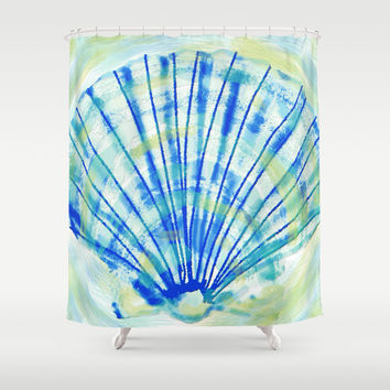 Fossil Sea Shell: Tie-Dye  Shower Curtain by Eileen Paulino