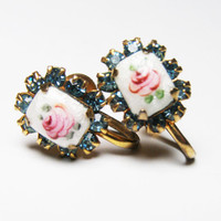Vintage Guilloche Enamel Earrings with Pink Rose and Aqua Blue Rhinestones