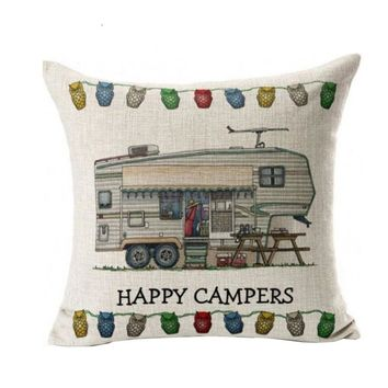 Fashion Style 45x45cm Cotton Linen Pillow Case happy campers Pattern Square Decorative Pillow Cover Home Textile 2016 Gift 1pc