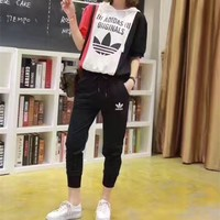 """Adidas"" Women Sport Casual Letter Print Multicolor Hooded Short Sleeve Set Two-Piece Sportswear"