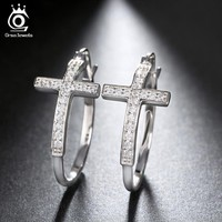 ORSA JEWELS Silver Color Hoop Earrings for Women Large Cross Loop Paved Shiny Austrian Crystal Fashion Jewelry Earring OE142