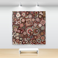 Wine Red and Taupe Particle Circles and Squares, Abstract Art, open edition print, large sizes, by San Francisco artist Kristin Henry
