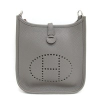 HERMES Evelyn TPM Amazon Shoulderbag Clemence Leather Etain Gray SHW