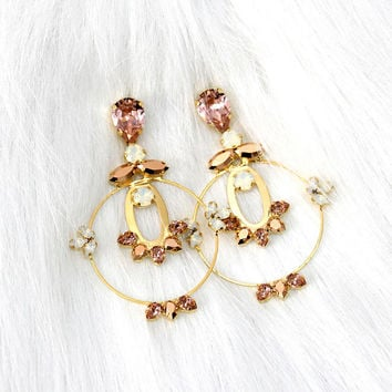 Hoop Earrings, Statement Earrings, Bridal Hoop Blush Earrings, Bridal Large Gold Hoop Earrings, Swarovski Blush Chandelier Blush Earrings