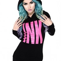 "Women's ""Big Ink"" Thermal Hoodie by InkAddict (Black/Pink)"