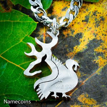 Buck and Turkey Necklace, Deer Hunting, Hand Cut Coin