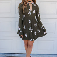 Fantasy Land Olive Floral Print Long Sleeve Flare Dress