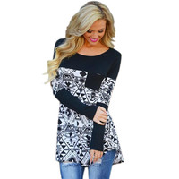 Black Geometric Print Long-Sleeve Pocket Shirt