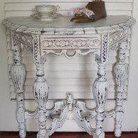 Vintage Wood Carved Shabby Chic Table 1040s