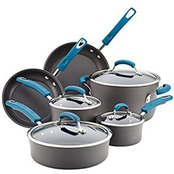 Rachael Ray 10 Piece Hard-Anodized Aluminum Nonstick Cookware Set with Marine Blue Handles