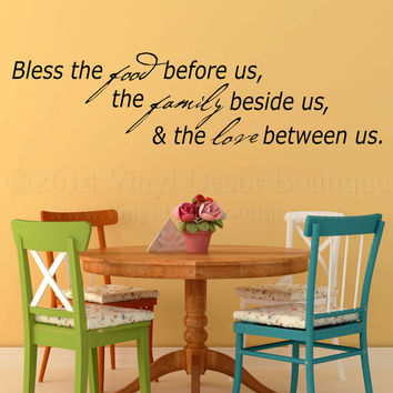 Bless the food before us Wall art wall decal, wall quote vinyl lettering vinyl wall quote Bless the food before us