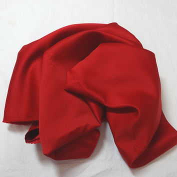 1 & 3/8 Yard Cut of Red, Dress Making Flat Satin Fabric in Polyester, Medium Weight, 60 Inches Wide, Costumes, Prom, Evening Wear, Home Sew