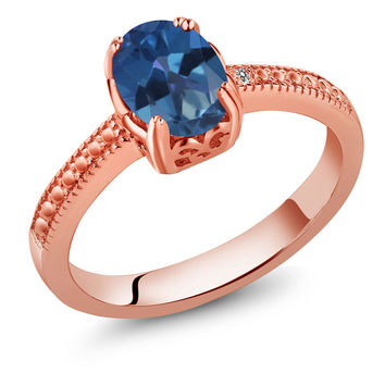 1.31 Ct Blue Mystic Topaz Diamond 18K Rose Gold Plated Silver Ring