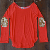 Sequin Elbow Patch Slouchy Pullover Tunic -  Women's Long Sleeve French Terry Tee Now available in XL Gift Ideas for Her Teens