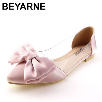 BEYARNE arrival vintage rivet women single shoes pointed toe spring summer ballet flats flat fashion shoes woman moccasins flat