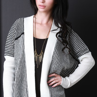 Grid Knit Open Cardigan