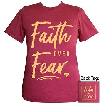 Girlie Girl Originals Lulu Mac Preppy Faith Over Fear Raspberry T-Shirt