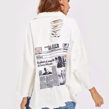 Oversize Distressed Patched White Denim Jacket
