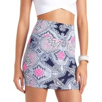 Paisley Print Bodycon Mini Skirt by Charlotte Russe - Navy Combo
