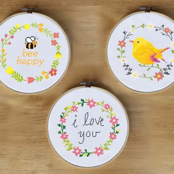 Floral Wreath Cross Stitch Patterns - Bee Happy, I Love You, and Bird Floral Wreath