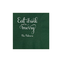 Christmas Napkins Set of 100 - Eat Drink and be Merry Cocktail Napkin - Red Green Gold or Silver Party Favors - Personalized or Custom Gift