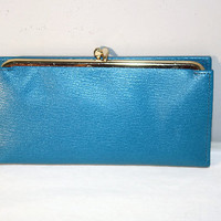 Blue Leather Dopp Wallet, Checkbook Style With Clasp, Vintage Pompero Cowhide