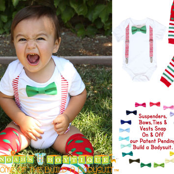 Christmas Outfits for Boys Red White Suspenders Bow Tie Legwarmers