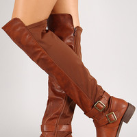 Polly-7 Mixed Media Buckle Knee High Riding Boot