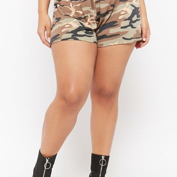 Plus Size Smocked Camo Shorts