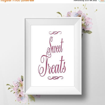 Sweet Treats, 8x10, Wedding Table Sign, Instant Download, DIY Printable Sign, Red Glitter Calligraphy Script