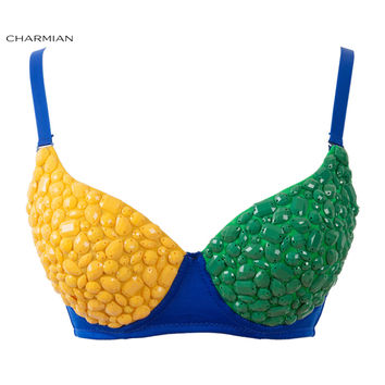 Charmian Women's Funky Bra Top B Cup Brazil Flag Color Gem Rave Bra Nightclub Party Bra Crop Top Corset and Bustiers