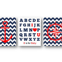 Nautical Nursery wall art decor alphabets abc anchor picture printable red white blue baby room decor Red NAVY anchor navy download