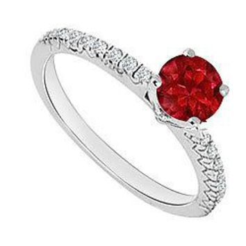 14K White Gold : Ruby and Diamond Engagement Ring 0.75 CT TGW