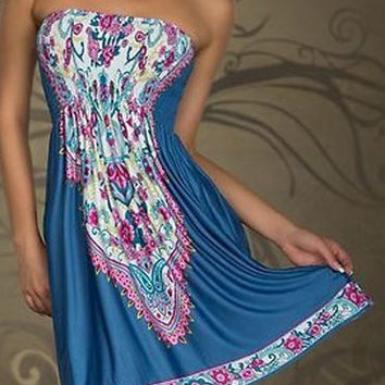 Blue Totem Printed Strapless Boho Dress
