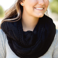 Luxe Knit Infinity Scarf-Black