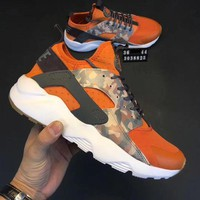 Nike Huarache Tide Unisex Orange Camouflage Running Sneakers Sport Shoes I