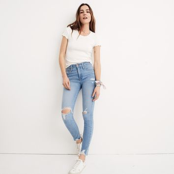 """9"""" High-Rise Skinny Jeans in Ontario Wash: Distressed-Hem Edition"""
