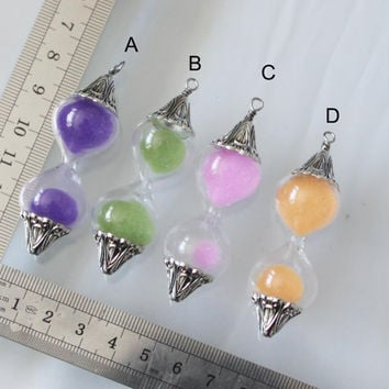 4 pcs  big  Sand Timer sand Hour Glass bottle  charms  22mmx60mm