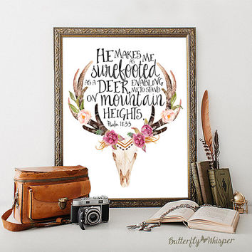 Bible verse print decor, He makes me as surefooted as a deer print, Christian wall art print, Bible quote print, Scripture printable decor