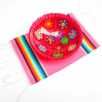 Aztec home decor, tribal placemat, table decoration, mexican party decor, centerpiece decoration, tribal place mat, pink, aztec, houseware