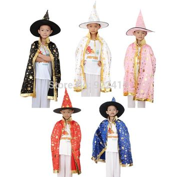CaGiPlay kid's Halloween Costumes boy girl Witch Cloak hat Fantasia Fancy Carnival maid party cosplay supplies