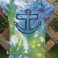 Baby Boy's Anchor Bodysuit, Tie-Dye Baby One Piece with Hand-drawn Anchor, Beach Baby, 3-6 Month Baby Boy Gift, Sailing, Ocean, Funky Baby