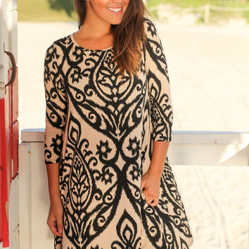 Black and Taupe Printed Swing Dress with 3/4 Sleeves