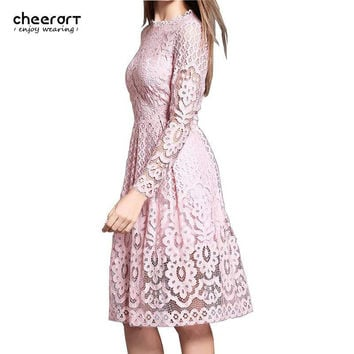 Sale! Women Bohemian White Lace Autumn Dress Crochet Casual Long Sleeve Plus Size Pink/White/Black/Red Dress Clothing