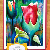 Happy Birthday Colorful Rose Flower Art Print Handmade Small Greeting Note Card (Blank Inside) -Reproduction print of Original Oil Painting